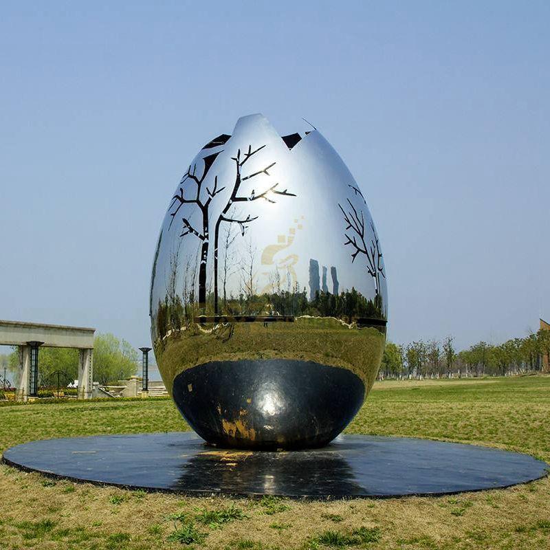 Outdoor stainless steel sculpture tree egg sculpture