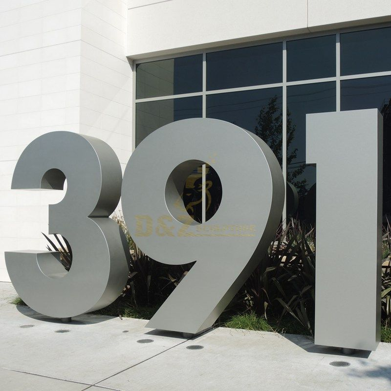 Outdoor large size brushed stainless steel letter sculptures