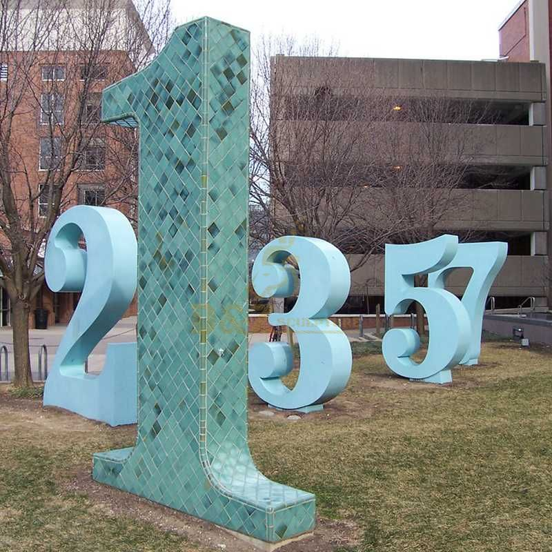 Outdoor modern numbers metal stainless steel letters sculpture