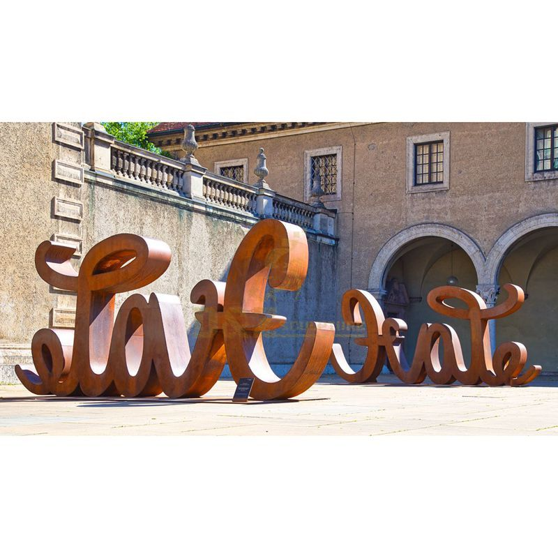 Custom large stainless steel letter sculptures national languages