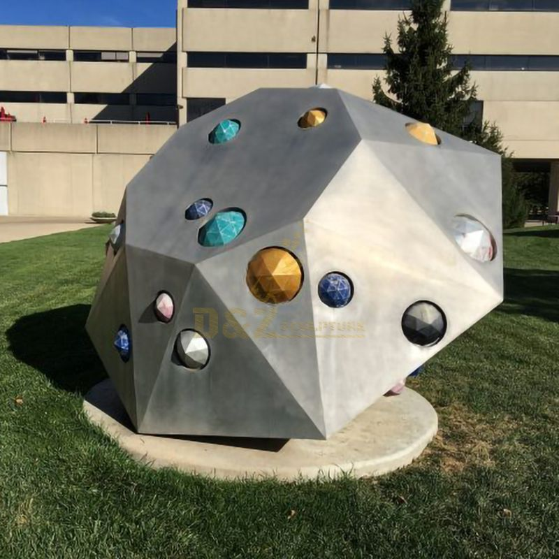 Outdoor Stainless Steel Geometric Brushed Sculpture