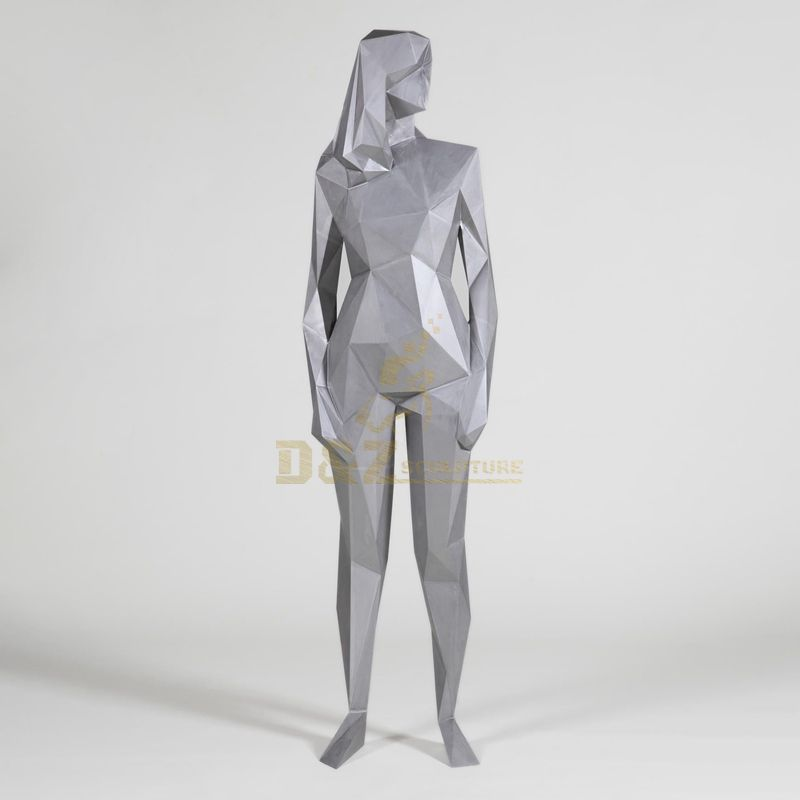 Stainless steel figure mosaic standing woman sculpture