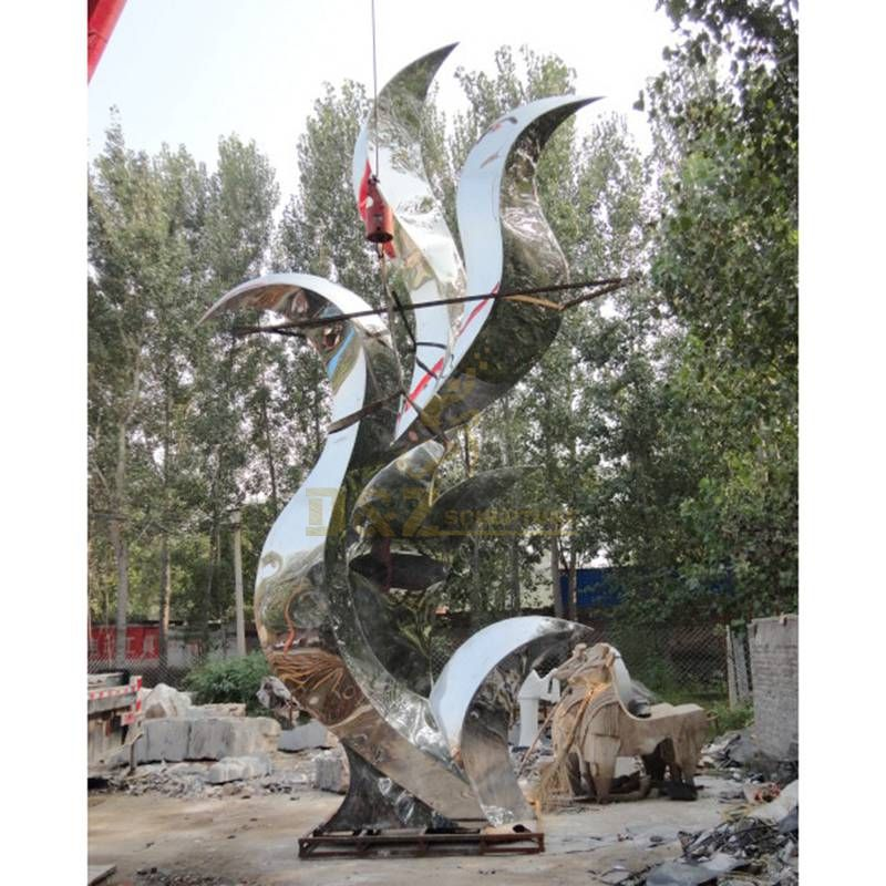 Stainless steel modern abstract flame mirror polished sculpture