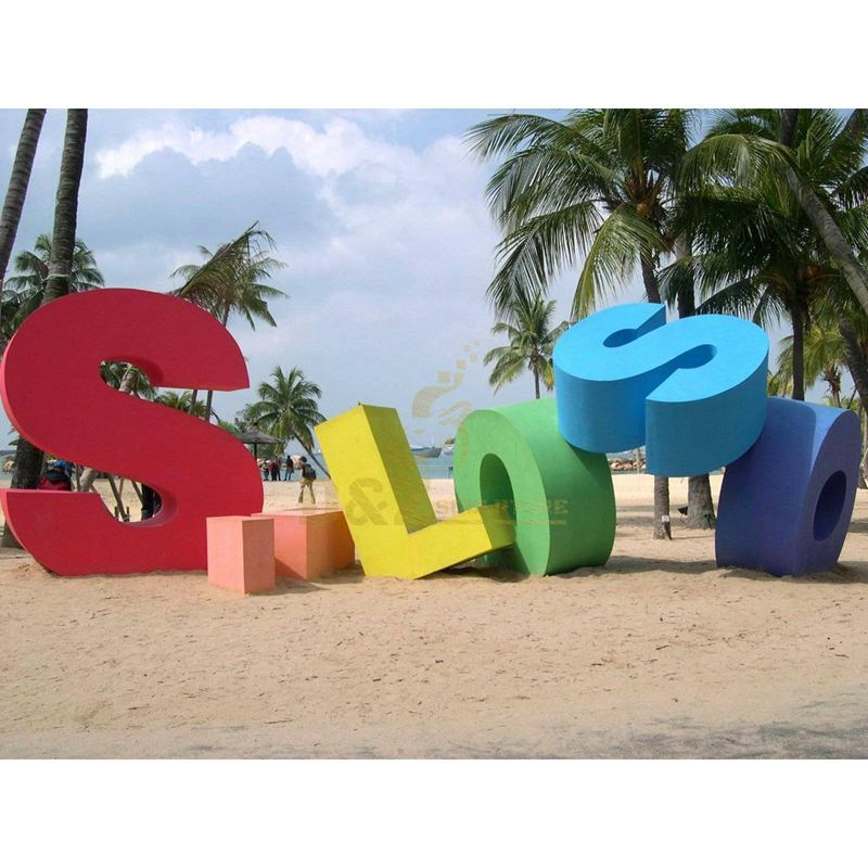 Colorful stainless steel letter sculptures with different shapes and sizes