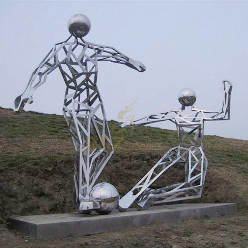 Outdoor abstract figure stainless steel football art sculpture