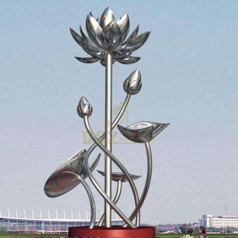 Outdoor metal art statue large lotus flower stainless steel sculpture
