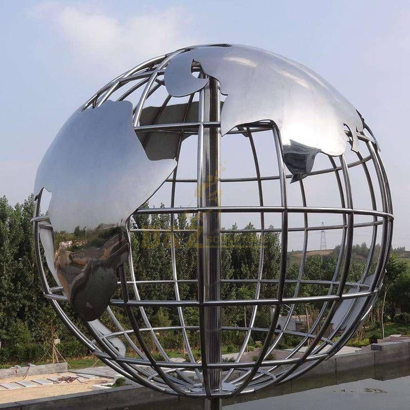 Silver city center stainless steel globe sculpture