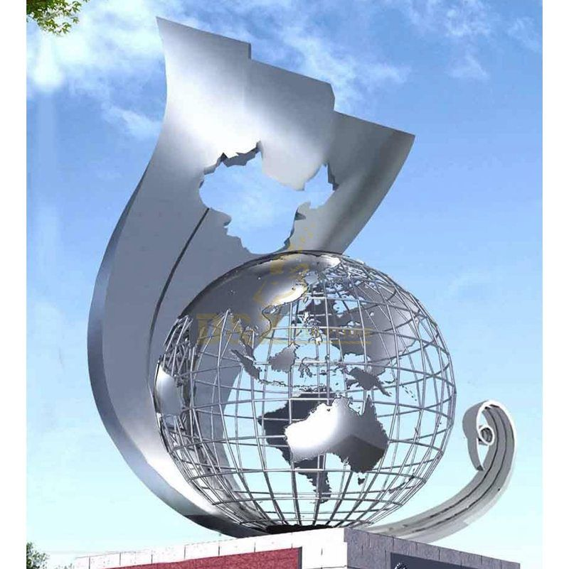 3D printed stainless steel globe city sculpture metal decoration