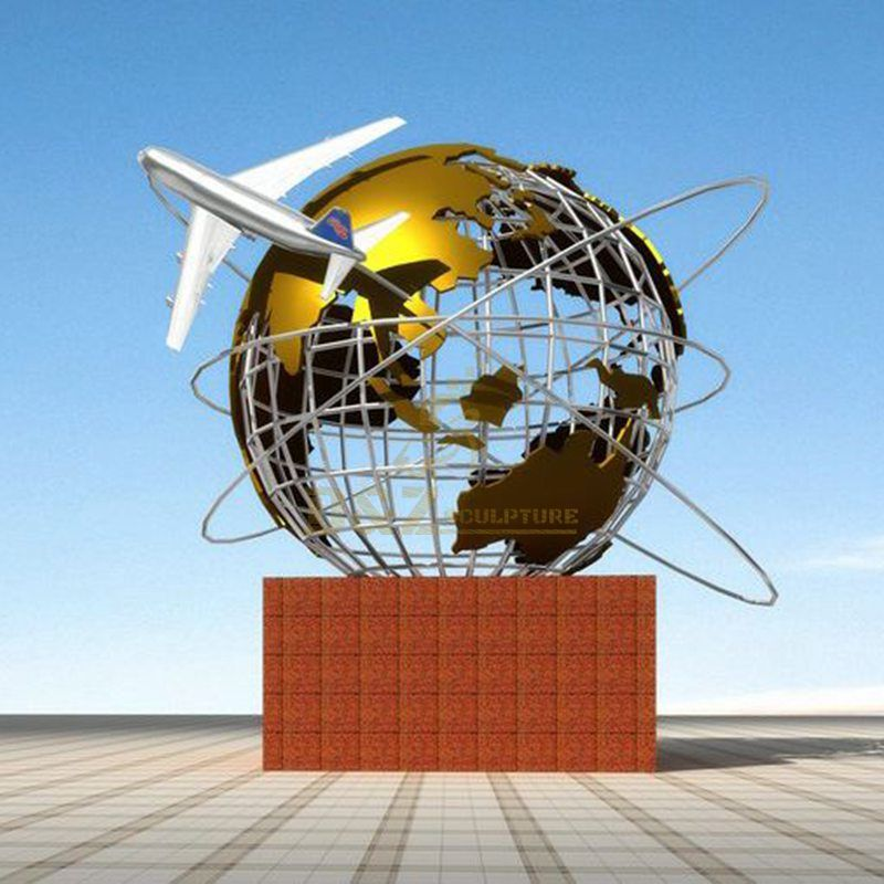Outdoor large stainless steel globe sculpture airplane model artwork