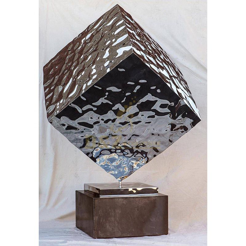 Stainless steel geometric pattern mirror wave square modern sculpture
