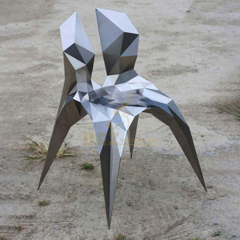 Stainless steel metal mosaic art chair decoration sculpture