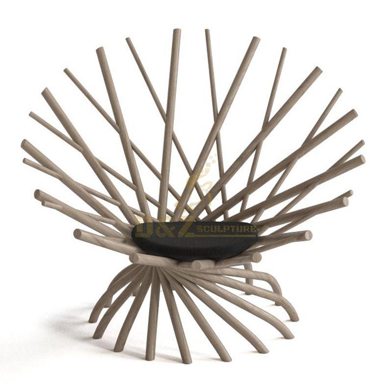 Stainless steel tube chair design interior sculpture