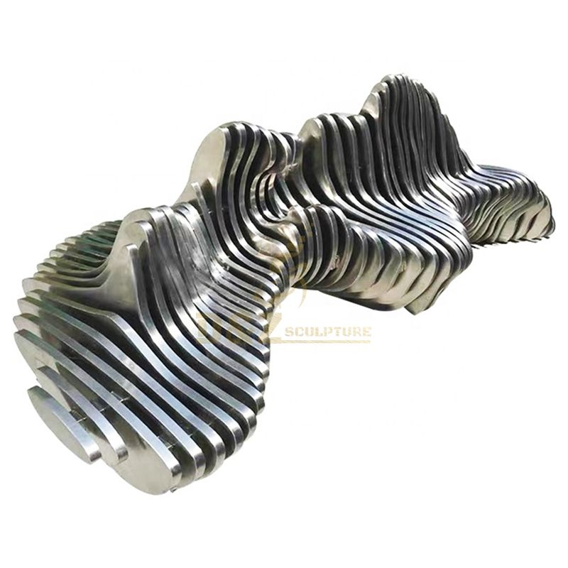 Large stainless steel park bench modern abstract art sculpture