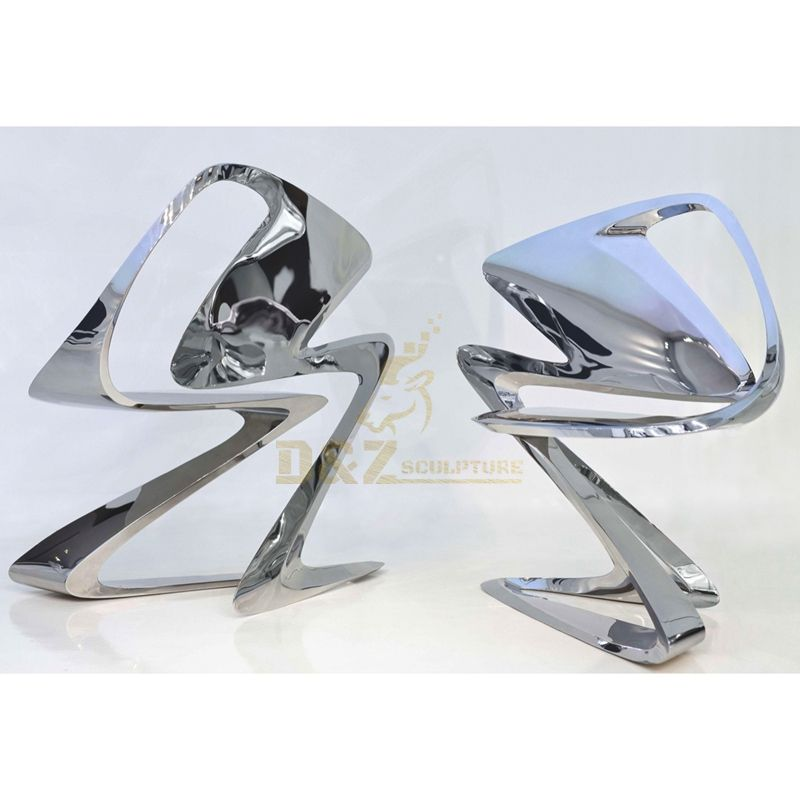 Stainless steel metal abstract interior unique chair sculpture