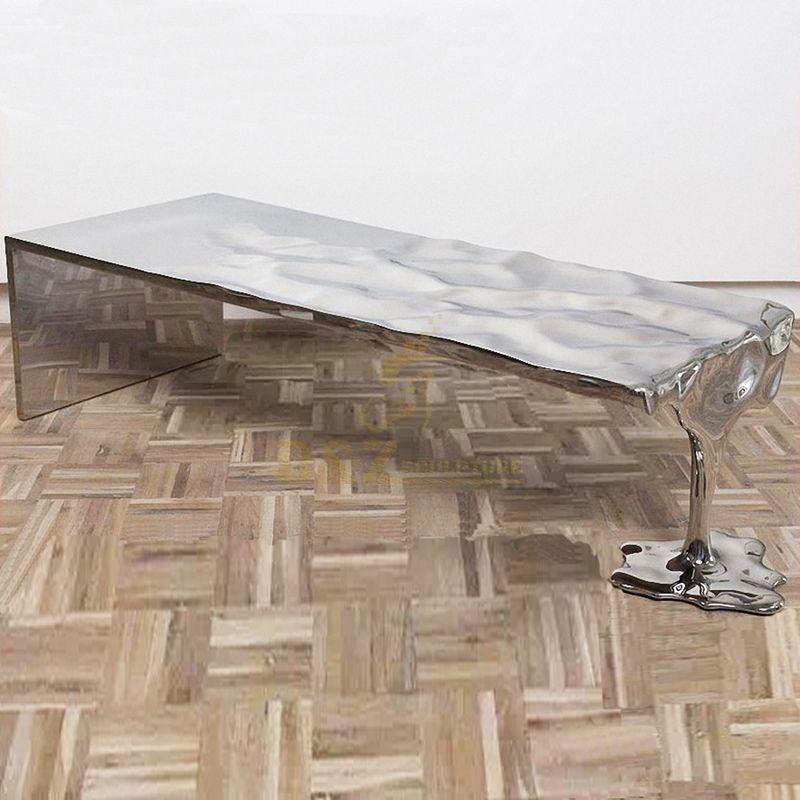 Home garden decoration stainless steel mirror chair sculpture