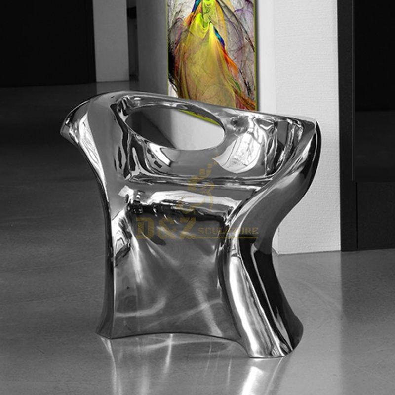 Indoor stainless steel chair sculpture