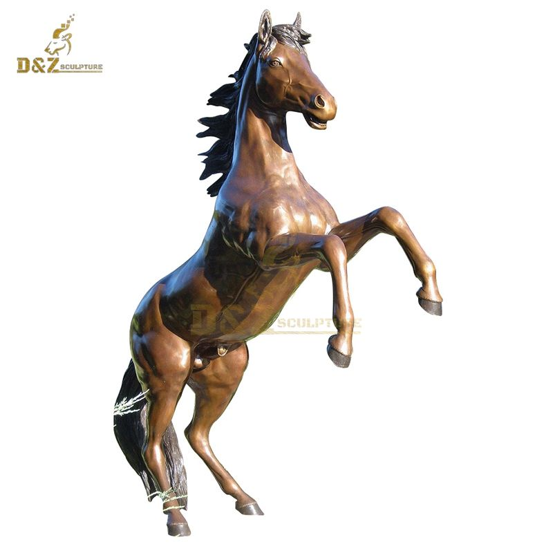 Custom outdoor life size outdoor bronze horse jumping statue