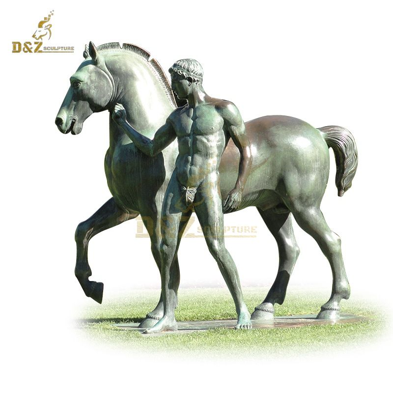 Muscular man bronze horse sculpture