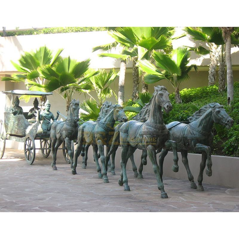 Outdoor large casting bronze horse carriage sculpture