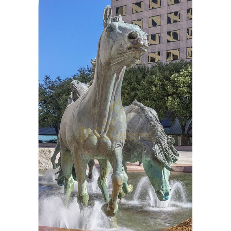 Garden outdoor sculptures running horses large bronze water fountain statue