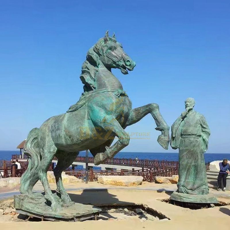 Outdoor sculpture of famous Chinese bronze poet and bronze horse