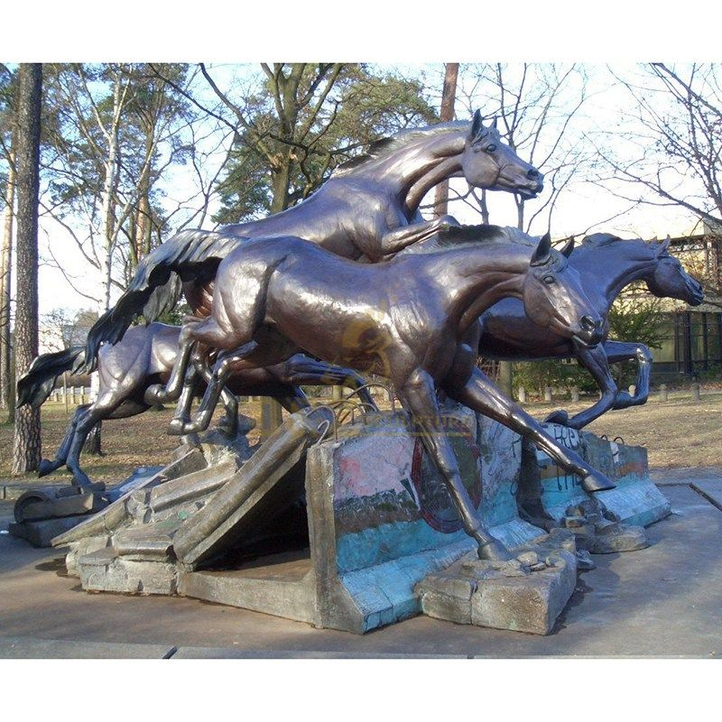 Outdoor large jumping bronze horse sculpture