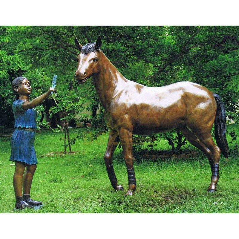Girl and bronze horse statue for garden decoration factory supply children