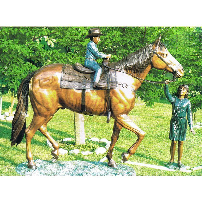 Child and Horse Bronze Casting Vivid Sculpture