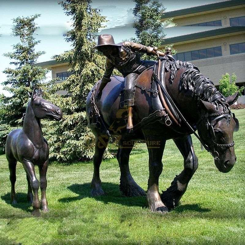 Outdoor bronze horse metal kid riding sculpture