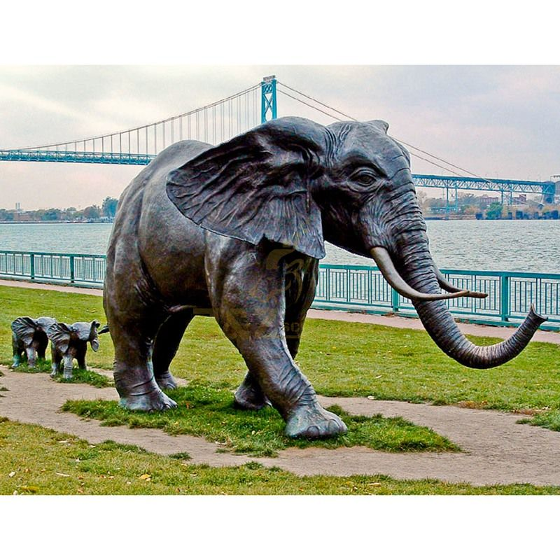 Bronze casting metal animal Life size antique bronze elephant statue