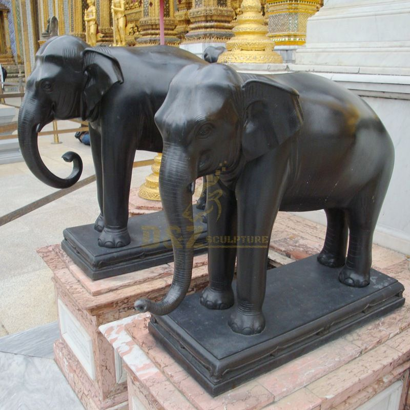Bronze animal elephant sculpture in Thai temple