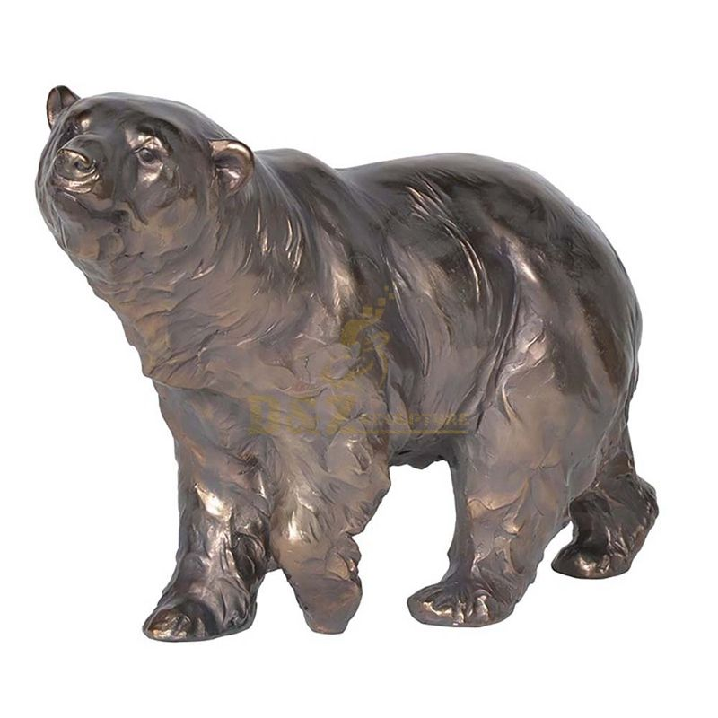 Metal Material and Animal Theme bronze polar bear statue