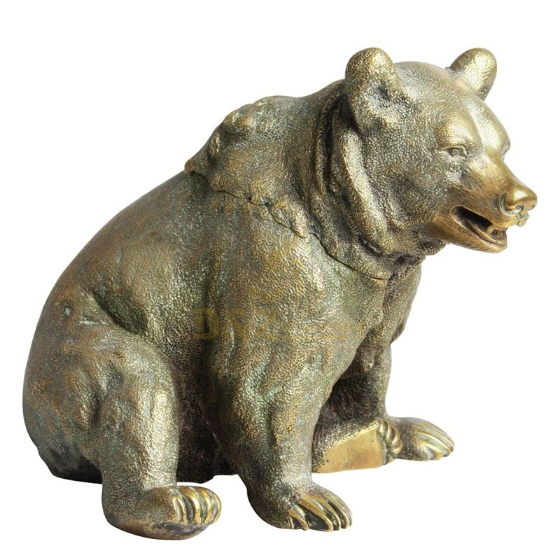 Outdoor decoration life size antique bronze bear statue