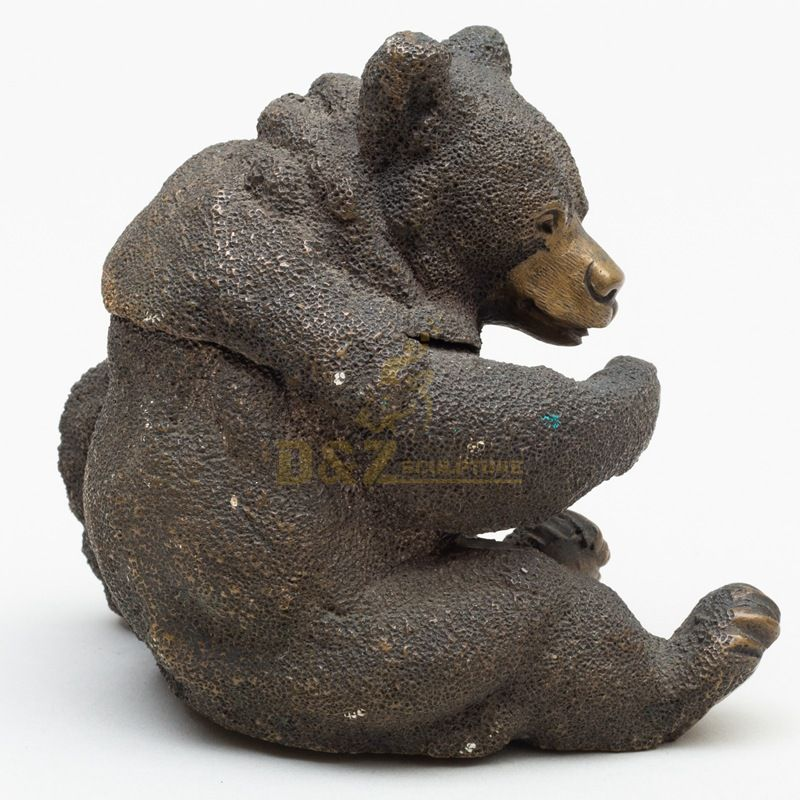 Garden decoration casting metal art sculptures animals abstract life size bronze bear statues for sale