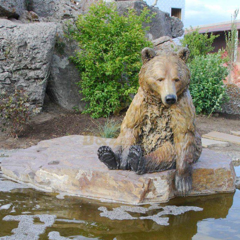 Outdoor Bronze Bear Sitting With Antique Brass Bear Statue
