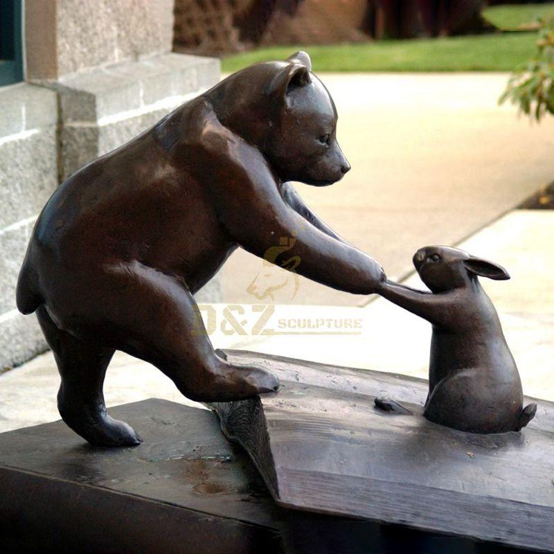 Outdoor garden metal brass bear statue and rabbit play sculpture