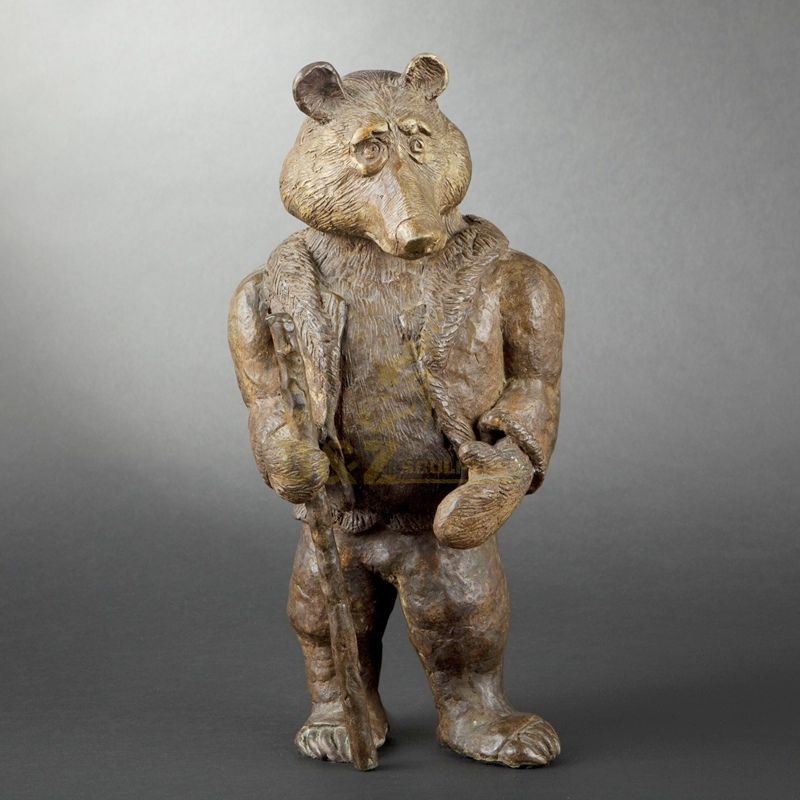 Factory supply large size custom handmade casting bronze bear sculpture