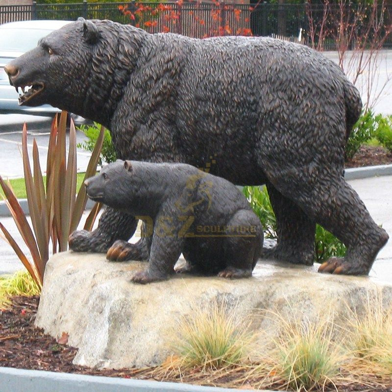 Life Size Bronze Black Bear Sculpture For Sale