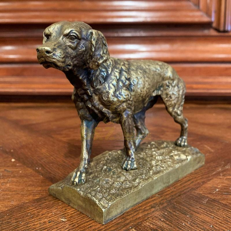 Garden decorative statue metal casting modern life-size bronze standing dog sculpture