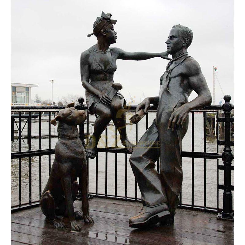 Outdoor metal boy girl and dog bronze sculpture