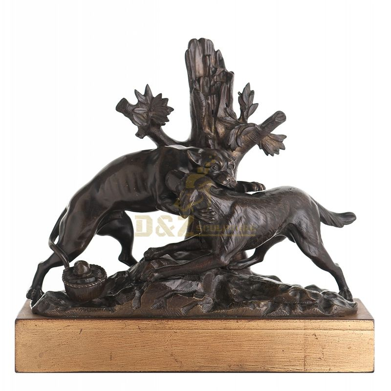 Outdoor animal bronze dog statues for garden fighting