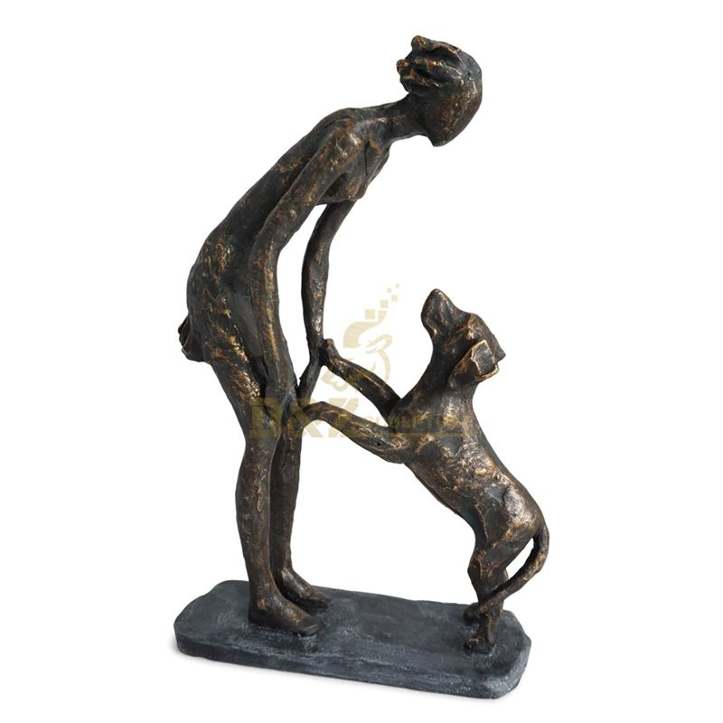 Famous casting life size bronze dog brass sculpture with woman