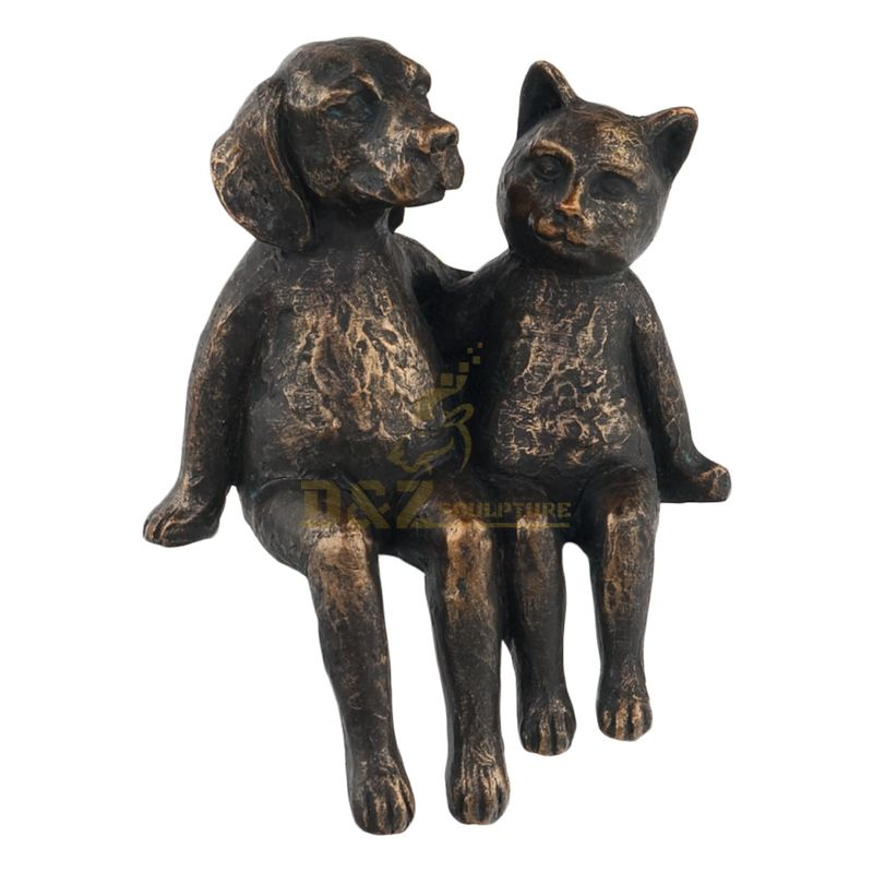 Life Size Garden Lovely Bronze Dog And Cat Statue