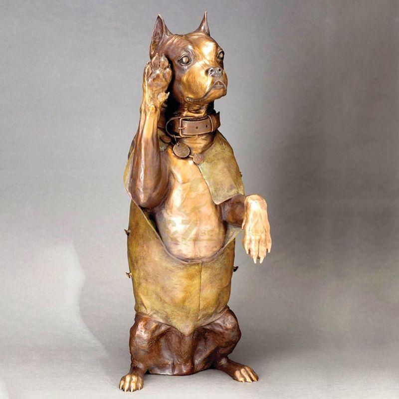 Military salute copper dog sculpture home decoration