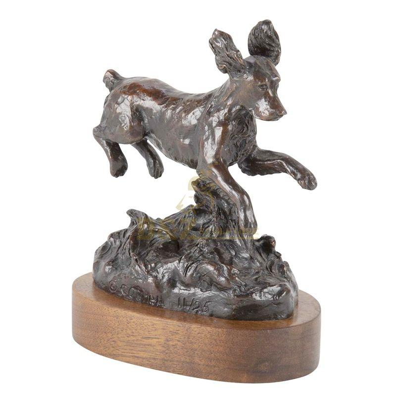 Super invincible cute running puppy bronze sculpture