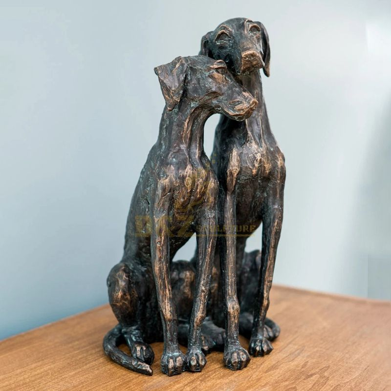 Blind date love life size bronze dog sculpture