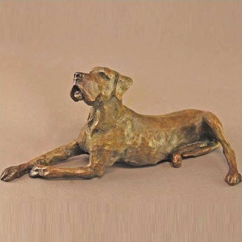 Antique cast life size garden decoration metal golden statue bronze animal dog sculpture for sale
