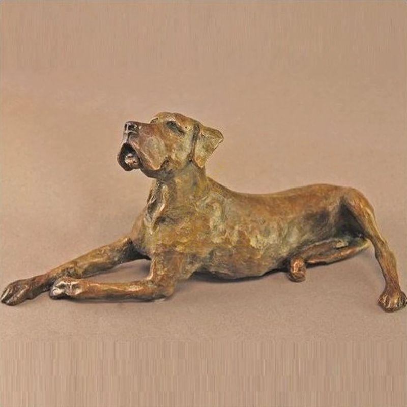 Antique cast life size garden decoration metal golden statue bronze animal dog sculpture for sale
