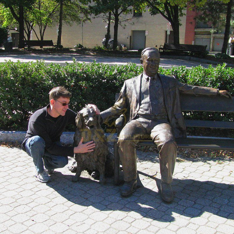 Outdoor garden decor life size bronze sculpture of gentleman and dog