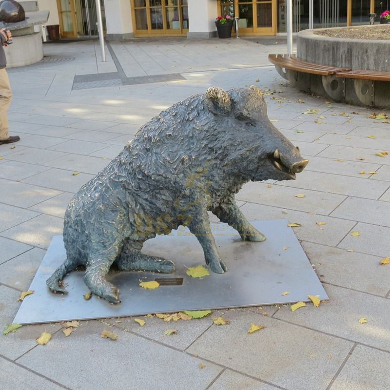 Life Size Copper Large Animal Wild Boar Outdoor Artwork Sculpture